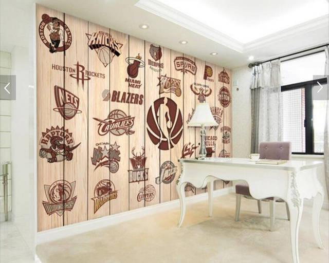 US $15 9 47% OFF|Custom basketball wallpaper, team logo team logo wood wall  for living room bar KTV restaurant background wallpaper-in Wallpapers from