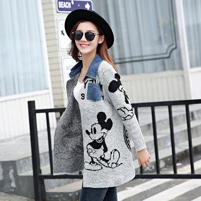 2016 Lady Moda Suéter de Lã Casaco De Médio a Longo Mulheres Denim Colarinho Da Camisa Blusas Soltas Para As Mulheres Outerwear G1323