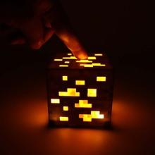 Minecraft Light Up Orange Stone Ore Square Minecraft Game Night Light LED Figure Cosplay Toys Light Up Diamond Ore As Gift #E