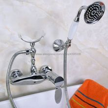 цена на Chrome Wall Mounted Bathroom Faucet Bath Tub Mixer Tap With Hand Shower Head Shower Faucet Sets Bna259