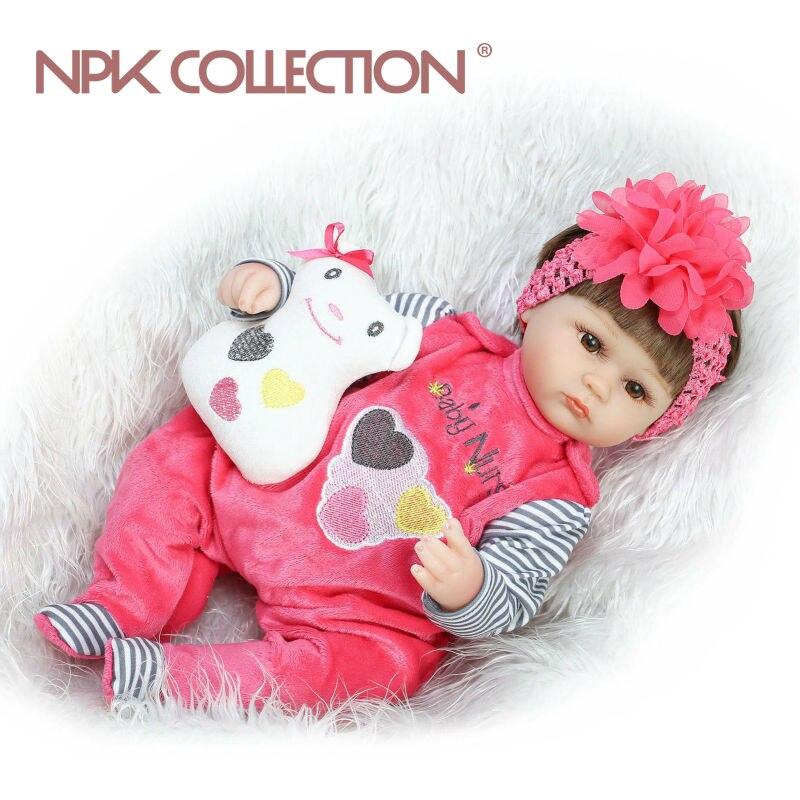 NPKCOLLECTION Silikon Reborn Baby Puppe kinder Playmate Geschenk Für Mädchen 40 cm Baby Lebendig Weiche Spielzeug Für Bebe Reborn Brinquedo spielzeug