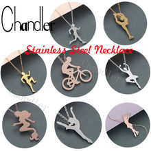Chandler Gymnast Silhouette Titanium Sports Necklace Ballet Ballerina Health Necklaces Dance Figure Jewelry Sporty Lover Gift(China)