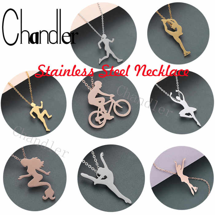 Chandler Gymnast Silhouette Titanium Sports Necklace Ballet Ballerina Health Necklaces Dance Figure Jewelry Sporty Lover Gift