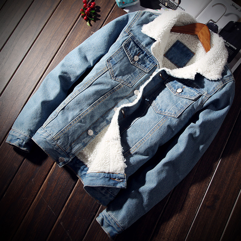 2018 winter mens denim jacket Plus velvet Thicken slim cowboy coat male turn-down collar Single-breasted Jean Outerwear Top 6XL