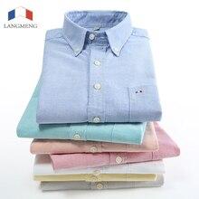 Langmeng plus size cotton brand striped shirt men long sleeve spring mens casual shirts oxford dress shirt camisa masculina 5XL