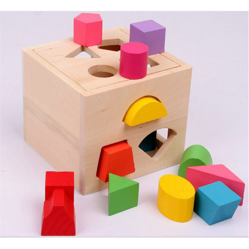 Exempt Postage, Children's Educational Toys, 13 Pcs Geometry Assembly Intelligence Box, Early Education Shape Matching Blocks