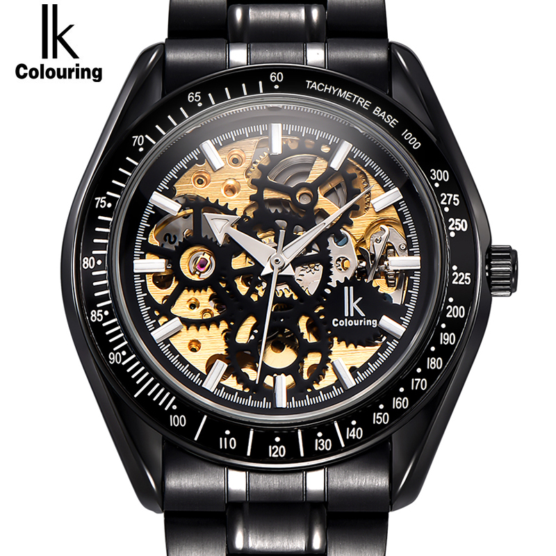 IK colouring Luminous Hollow Skeleton Automatic Mechanical Watches Men Brand Luxury Full Steel Military Watch relogios feminino ik colouring brand mechanical hand wind clock nail scale hollow back cover luminous hardlex full steel business men s watch