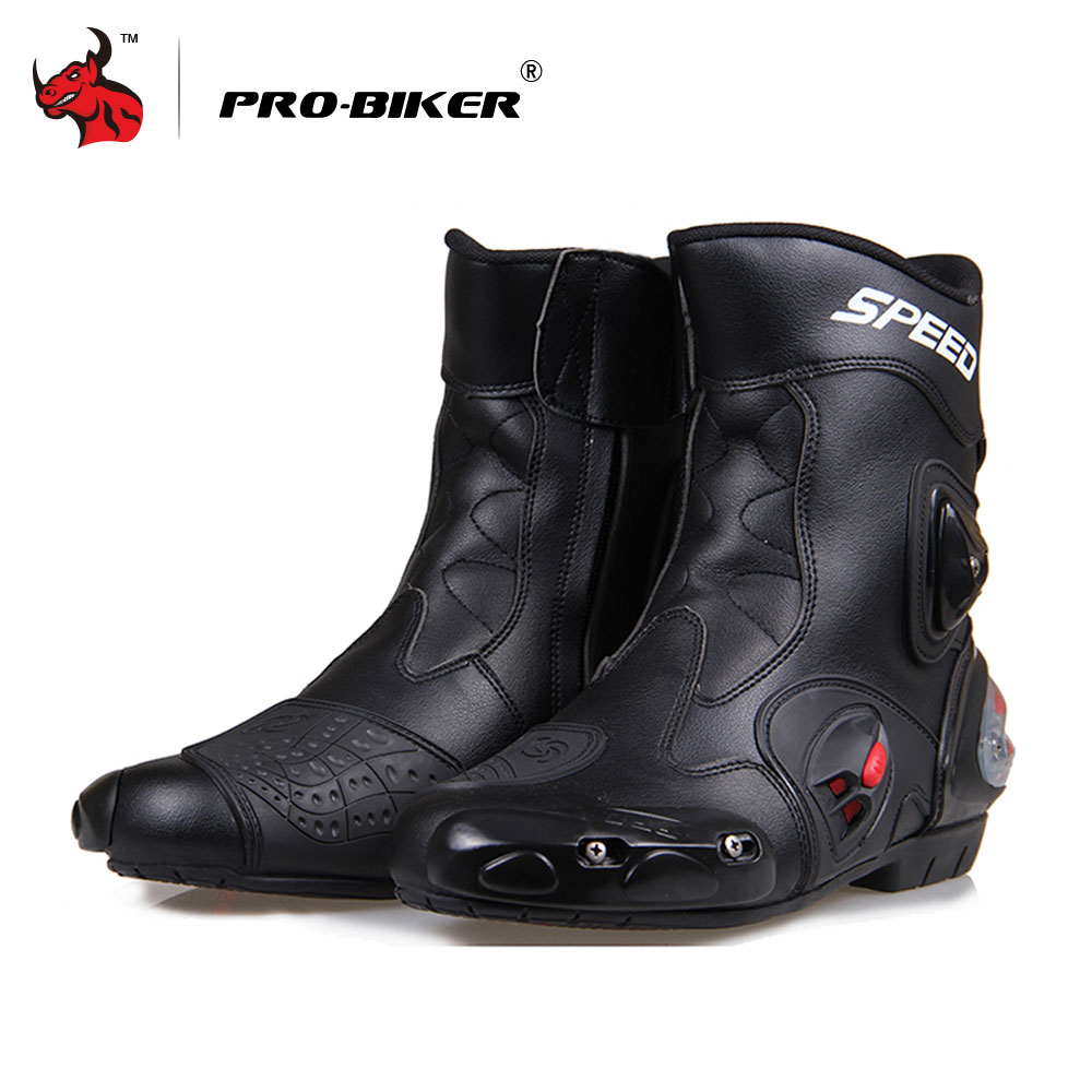 PRO-BIKER Motorcycle Boots Moto Shoes For Motorcycle Riding Racing Motocross Boots Waterproof Motorbike Boots Black Red White pro biker mcs 04 motorcycle racing half finger protective gloves red black size m pair