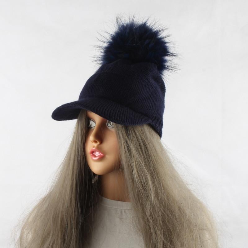 FURANDOWN 17 New Real Fur Pom pom Cap For Women Spring Autumn Baseball Cap With Raccoon Fur pompoms Brand Snapback Caps 18