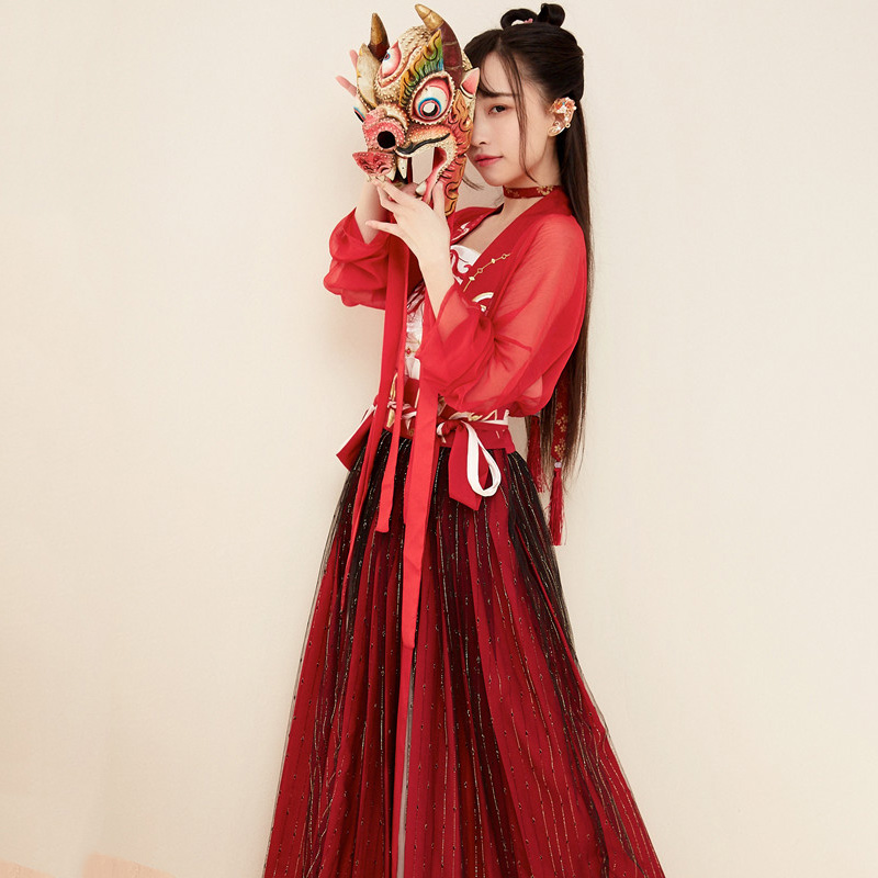 Red Hanfu For <font><b>Women</b></font> Chinese National Dance Costume Traditional Performance Clothing Oriental Stage Wear <font><b>Festival</b></font> <font><b>Outfit</b></font> DC1830 image