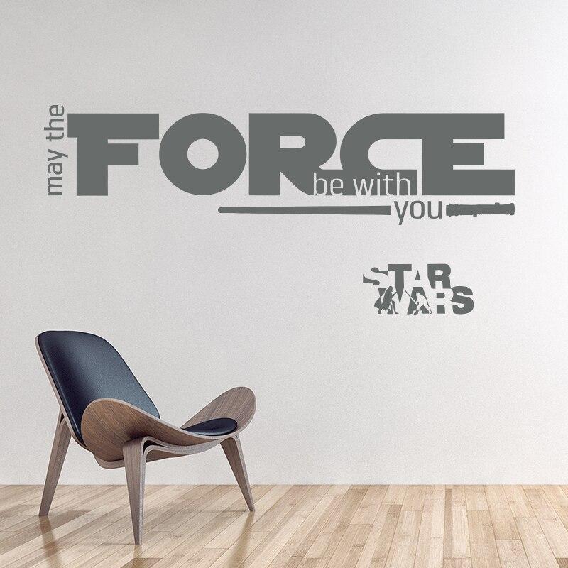 Nov dizajn Naj bo sila z vami War Star Quote WALL STICKER Home Decor - Dekor za dom - Fotografija 5