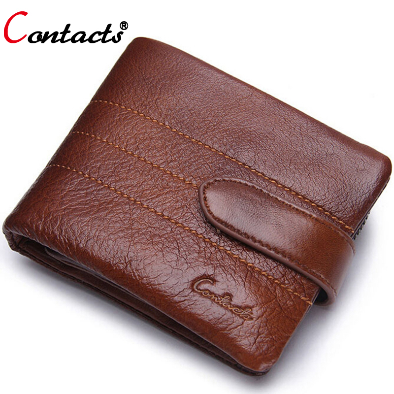 ФОТО Contact's Genuine Leather Short Men Wallets Famous Brand Purse Card Holder High Quality Male Mini Small Clutch Wallet Designer