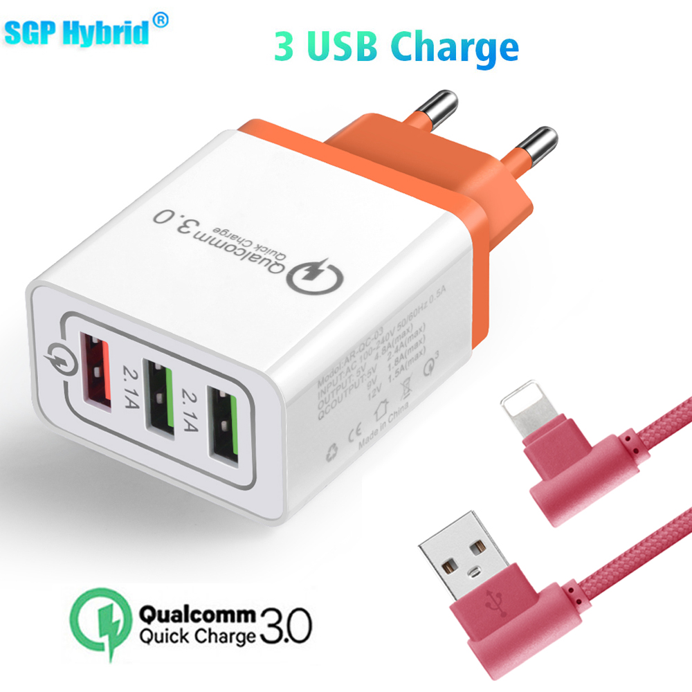 18W 2.1A 3 USB QC 3.0 EU Plug Wall Mobile Phone Charger For iPhone 8/X Fast Auto Charge For Samsung S8 S7 Note8 Huawei Xiaomi LG