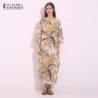 M 5XL ZANZEA Vintage Womens Floral Print Cotton Linen Party Cotton Linen Maxi Long Dress Casual