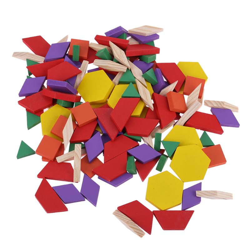 125pcs/Set Baby Wooden Toys Kids DIY Jigsaw Puzzle Geometric Shape Tangram Board Children Educational Toys