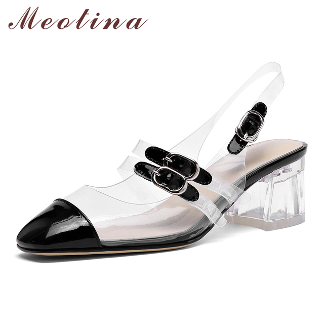 Meotina High Heels Mary Janes Shoes Women Natural Genuine Leather Thick Heels Shoes Cow Leather Transparent Square Toe Pumps 39
