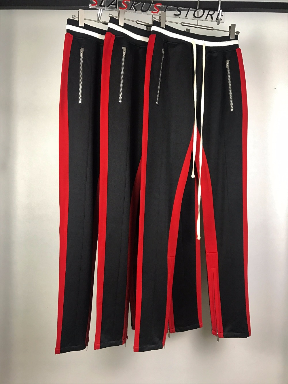2017 Double Striped Track Pants Mens Slim Fit Zipped Pocket Ankle Contrast Waistline Joggers Free Shipping