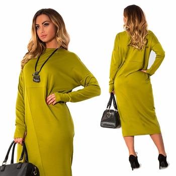 Plus Size 4XL 5XL 6XL roupas femininas 2018 manga longa outono Elegante Solto tamanho Grande o pescoço vestido midi verde vestidos femininos