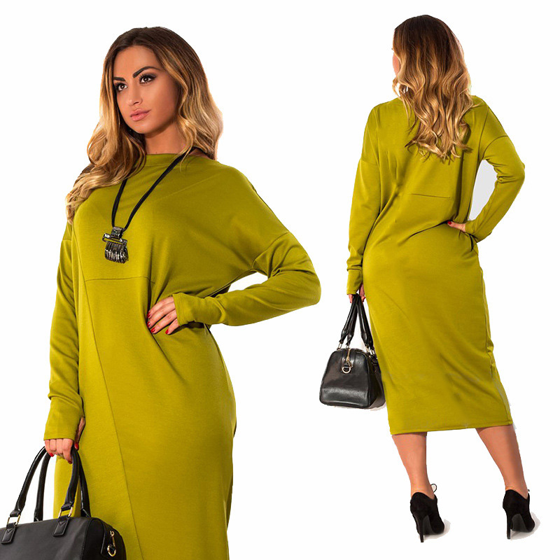 Plus Size 4XL 5XL 6XL women clothing 2017 long sleeve winter Elegant Loose Large size o neck green midi dress vestidos femininos