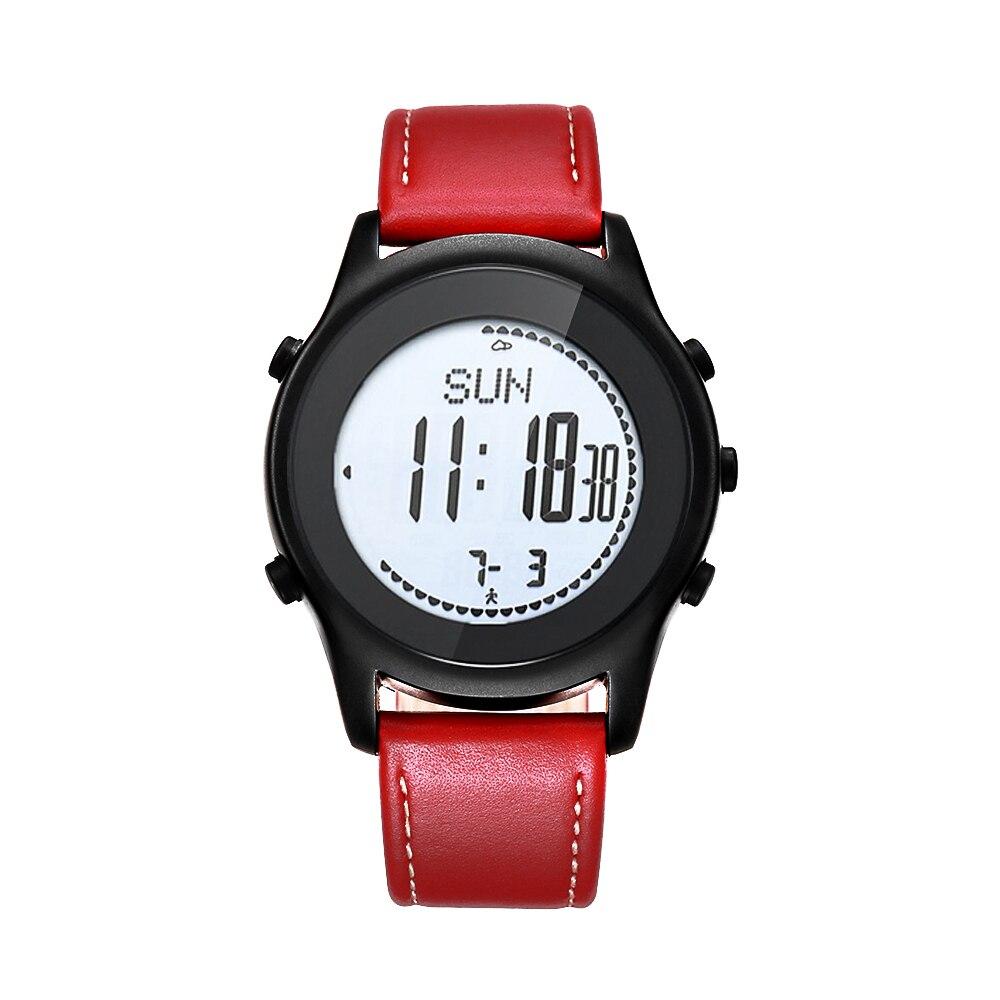 SPOVAN Men Women Sport Watch Fashion Ultra Thin Carbon Fiber Dial Red Genuine Leather Altimeter Barometer Multifunction watches - 2