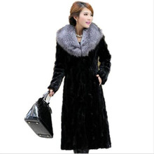 AILOOGE 2016 Winter Luxury New Spliced Mink Coat Women X-long Fox Fur Collar Parka Loose Plus Size Ladies Thicke Warm Outerwear