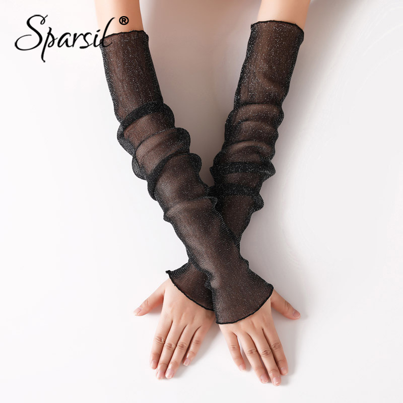 Sparsil Ladies Solid Long Fingerless Gloves Ice Lace Thin Breathable Sunscreen Summer Driving Mittens Mesh Sleeve Dual-Use 50CM