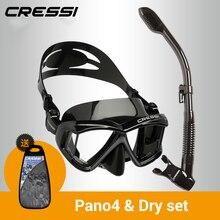 Cressi PANO4+ Сухой Сноркелинг Набор силиконовая юбка четыре объектива Панорамный Дайвинг маска сухая трубка для взрослых