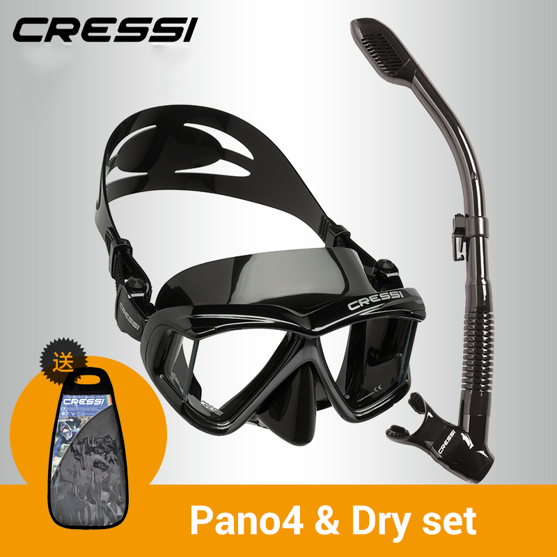 Cressi PANO4 + seco buceo conjunto de falda cuatro lente panorámica de buceo máscara de buceo seco Snorkel para adultos