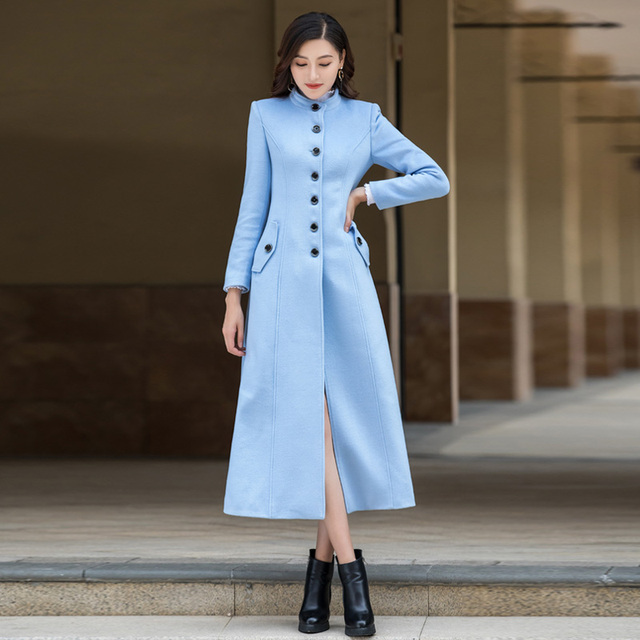 6433237fc8d Beautiful Light Blue Wool Coat Fashion New England Style Stand Collar  Single Breasted Slim Long Woolen Outerwear manteau femme