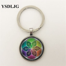 2019 New Fashion Glass Sacred Geometry Women Gift Vintage Jewelry Pendant Keychain for women gift