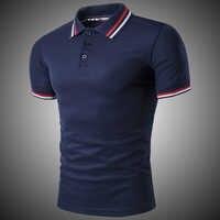 0d3acd5e51a Классические с короткими рукавами мужские Поло рубашка для мужчин  однотонные хлопковые дышащие повседневное Slim темно синий
