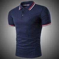 58ea7a5366 Classic Short Sleeve Polo Shirt Men Solid Cotton Breathable Casual Polo  Shirt Slim Men Navy Blue. Clássico Camisa Pólo de Manga Curta Homens ...