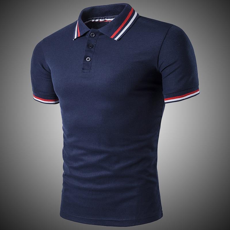 Classic Short Sleeve Polo Shirt Men Solid Cotton Breathable Casual Polo Shirt Slim Men Navy Blue Gray White Black D2718