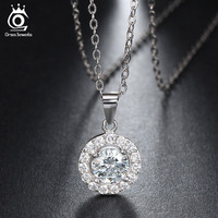 ORSA JEWELS Luxury Big Size CZ Diamond 925 Pendants Rhodium Plated Sterling Silver Chain Necklaces For