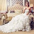 New Mermaid Trumpet White Ivory Wedding dresses Robe de mariage Custom make Plus size Sweatheart Train sleeveless long   HMZ 009