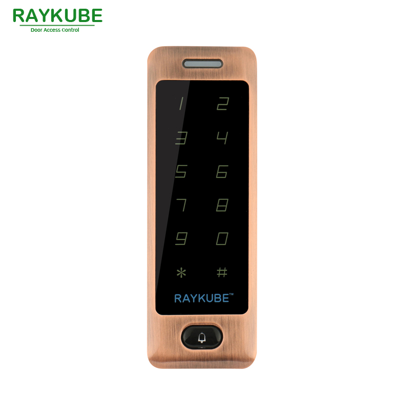 RAYKUBE Access Control RFID 125HKz Metal Password Touch Keypad For Door Access Control System Waterproof IPX3 R-T04 Red Bronze metal shell touch keyboard 125khz rfid access control system entrance guard password and rfid 10pcs crystal keyfob