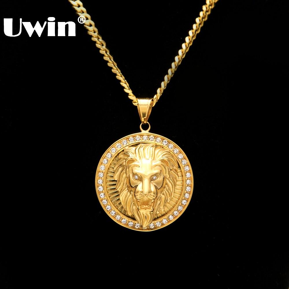Herren Hip Hop Schmuck Iced Out Vergoldet Mode Bling Bling Löwenkopf Anhänger Männer Halskette Gold Filled Für Geschenk/vorhanden