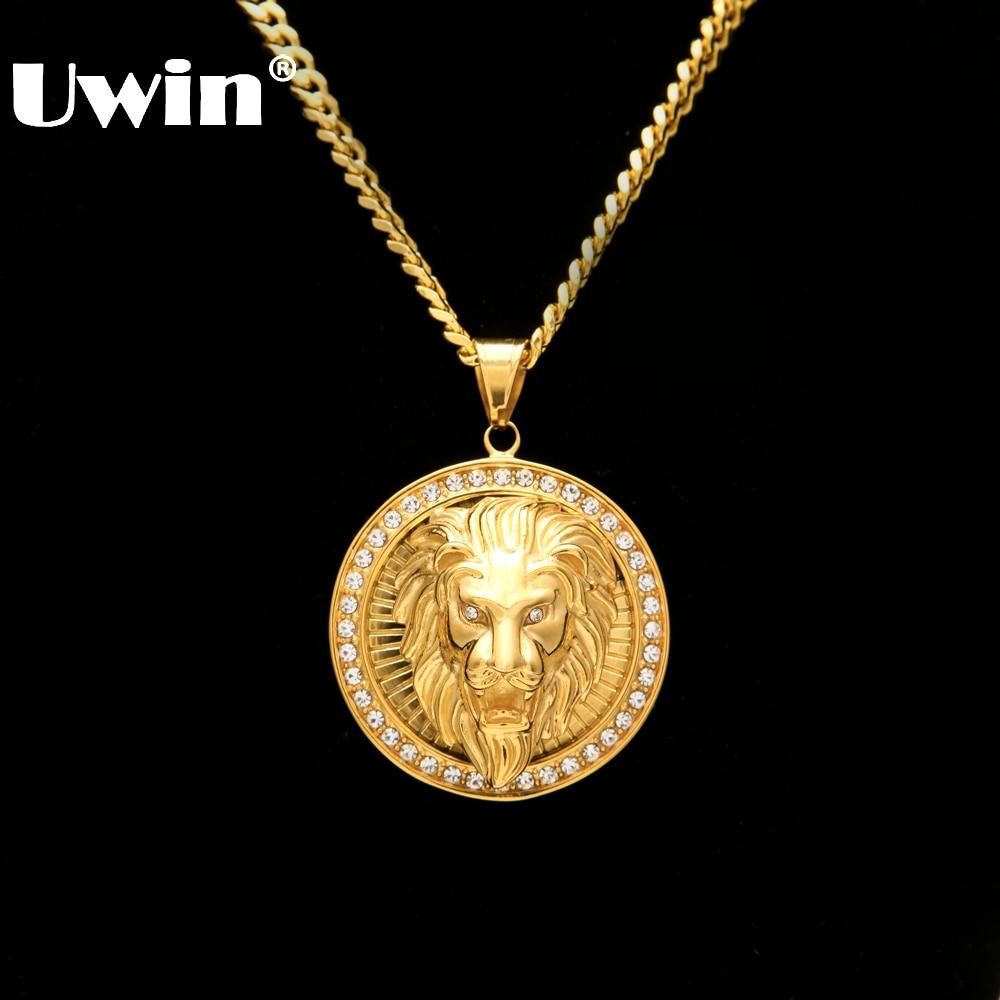 Joyería para hombre Hip Hop Hacia Fuera Helado Oro Bling Bling de La Manera Lion Head Colgante de Los Hombres de Oro Lleno de Collar Para El Regalo/presente