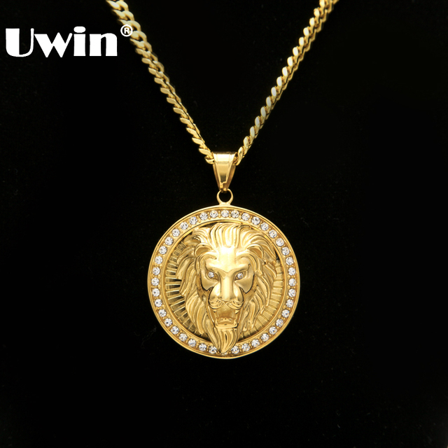 Mens hip hop jewelry iced out gold color fashion bling bling lion mens hip hop jewelry iced out gold color fashion bling bling lion head pendant men necklace aloadofball Image collections