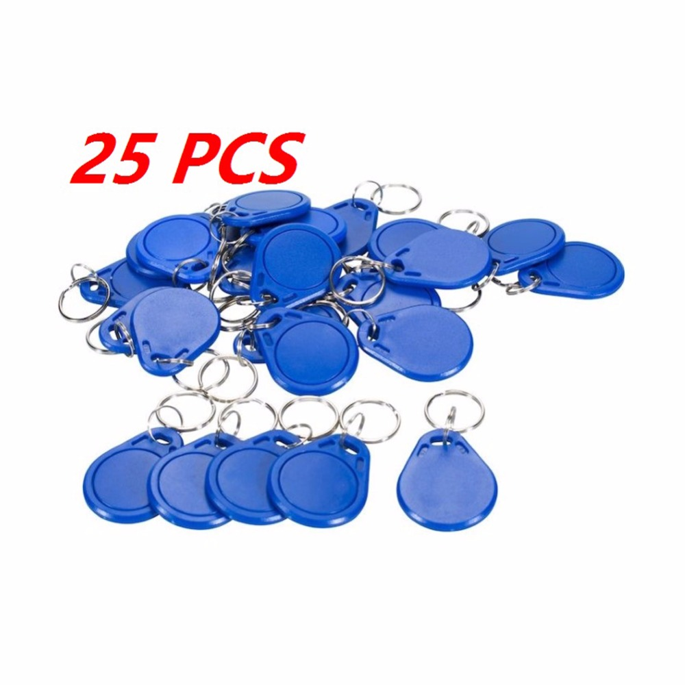 25pcs RFID 13.56MHz Token Tag IC Key Tag Keyfobs Keychain Access Control Token Ring Cards For Arduino NFC Tag FZ0411