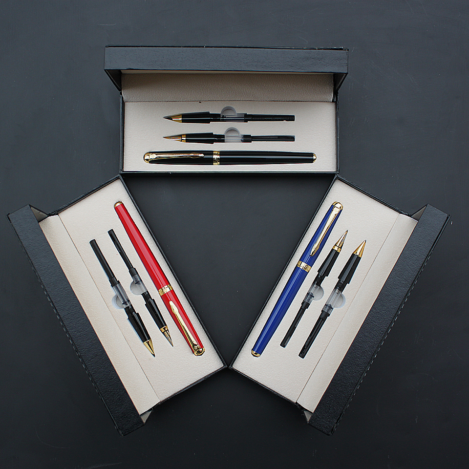 все цены на High Quality Fountain Pen Metal 3 in 1 With Gift Box 0.5-1.0mm Nib Ink Pen For Friend Birthday Office Supplies Luxury Ink Pen онлайн