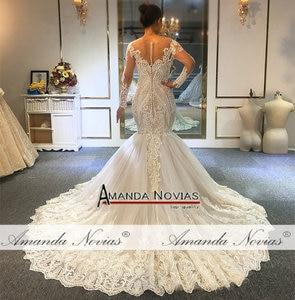Image 2 - 2020 Designer mermaid wedding dress amanda novias real work full beading bridal make up