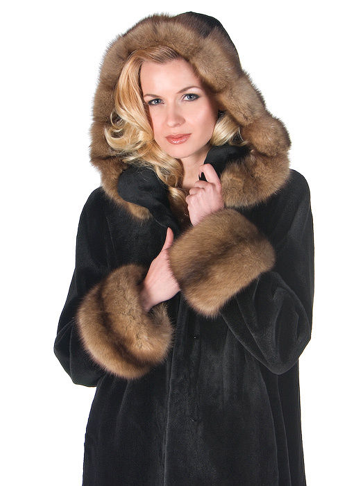 Women's Hooded Mink Fur Coat Long Black Sheared Mink Jacket High ...