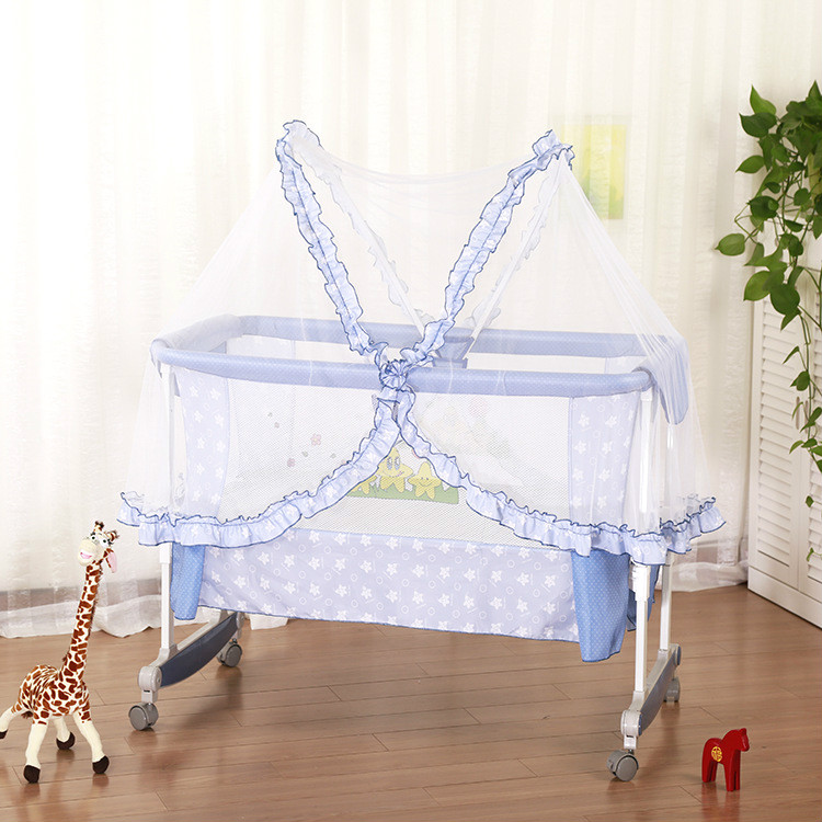 Multifunctional Newborn Crib Cradle Sleeping Bed Soft Baby Cradle Shaker Cribs Bed Rolling Wheel Baby Basket Mosquito net C01 цена