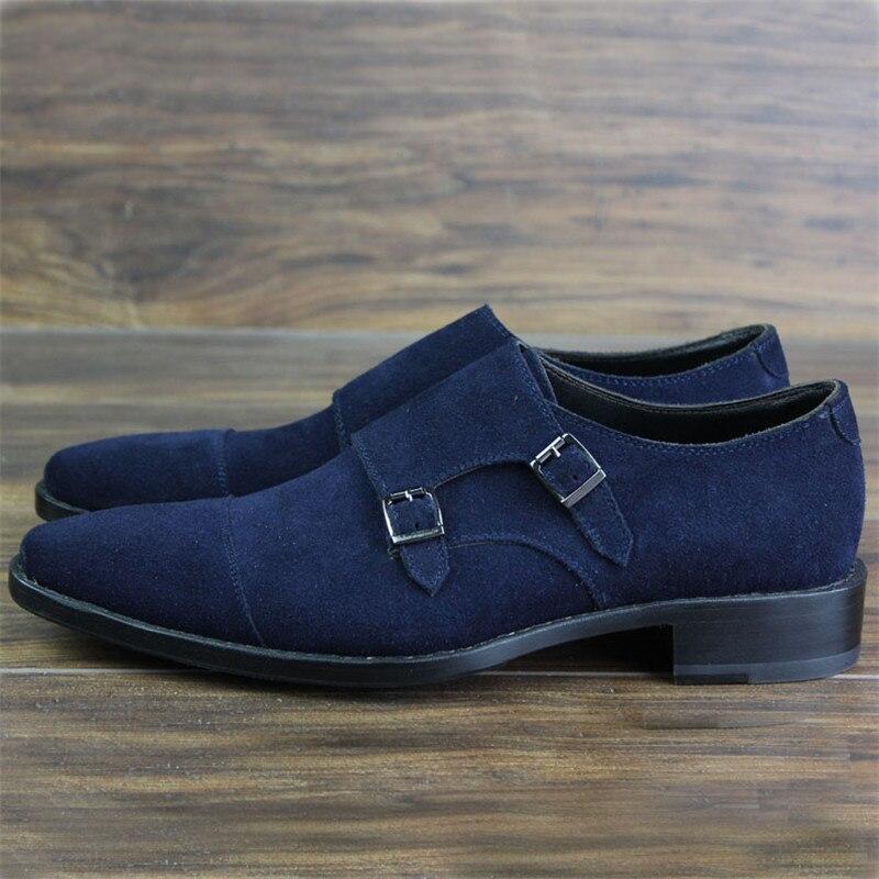 Welted Homens Goodyear Vaca Com Qualidade Sapatos Handmade Duplo Monge Maloneda Casuais A Camurça Azul Couro Alta Dos De Tira Bespoke tTfqFU