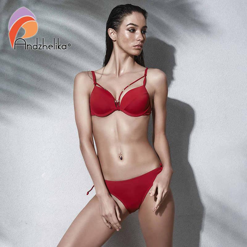 Andzhelika bikini 2018 женский купальник бикини с плотной чашкой и эффектом пуш апп AK5922-2