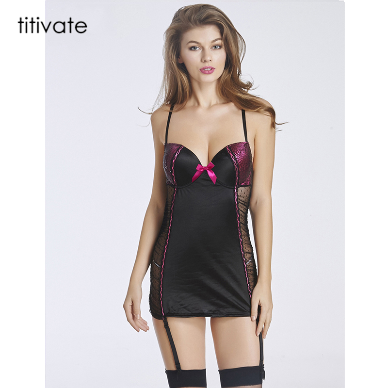 TITIVATE European American women sexy Sleepwear Slim package Hip tight sexy lingerie Erotic Lingerie V-Neck Sleepwear costumes