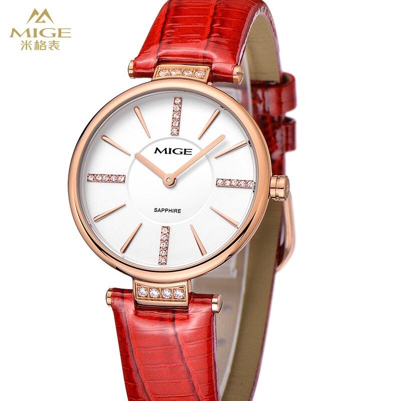 2017 Real New Hot Sale Zīmols Mige ikdienas sieviešu pulkstenis sarkans balts ādas plāns Quatrz sieviešu pulkstenis ūdensizturīgs Relogio Feminino