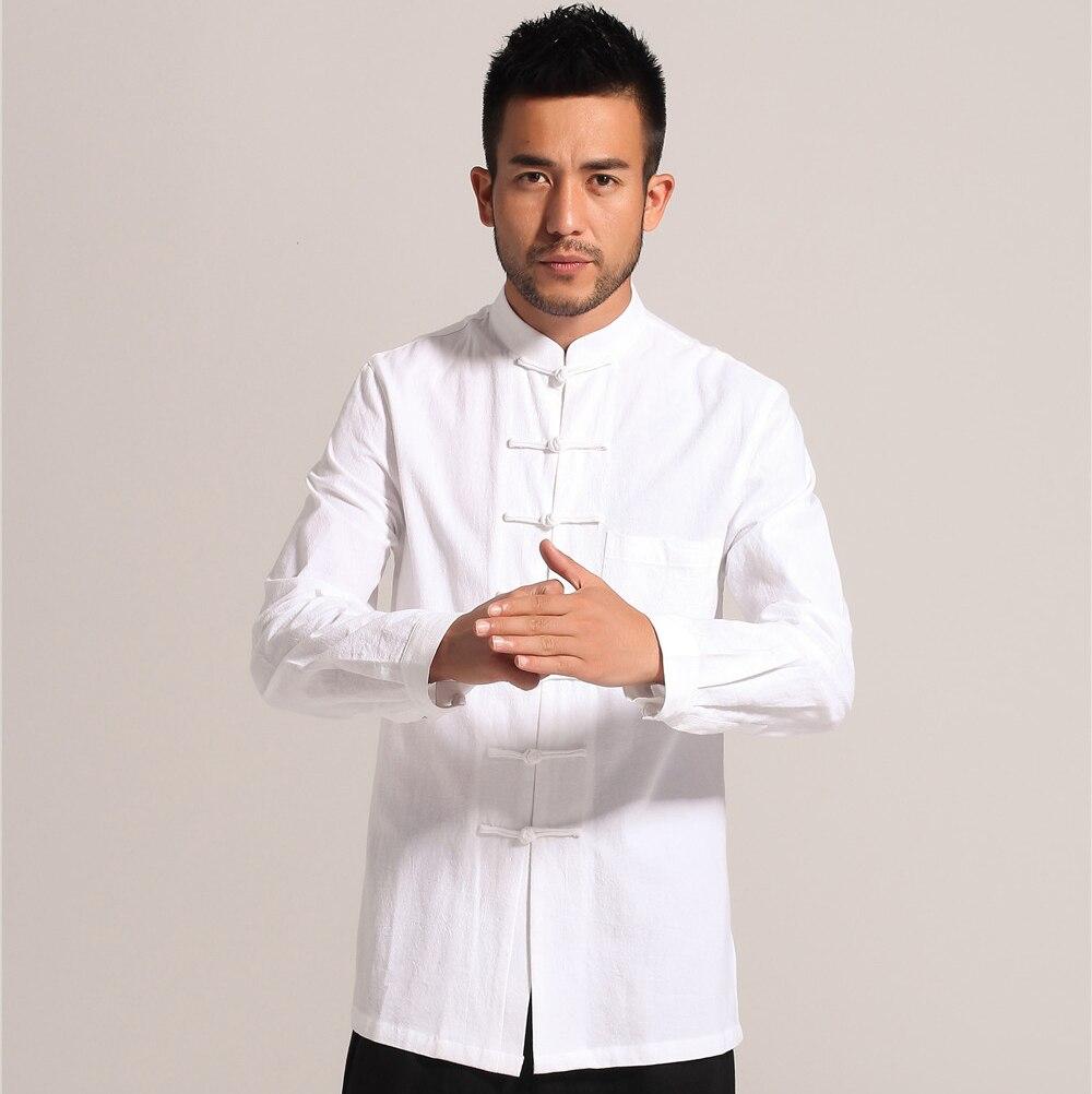Casual Cotton Linen Kung Fu Solid White Chinese Men Tai Chi Shirt Long Sleeve Shirts Tops Coats M L XL XXL XXXL PM002