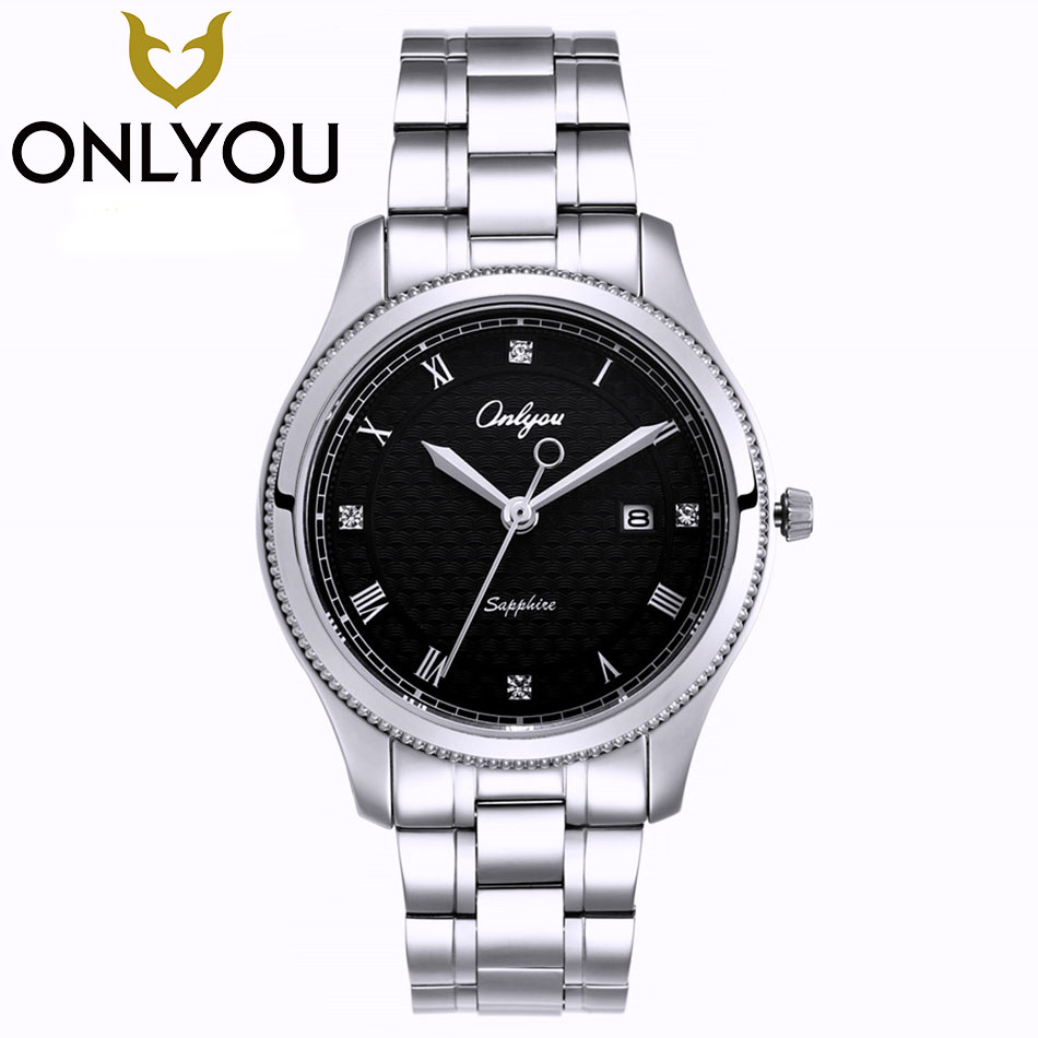 ONLYOU Lovers Watches Top Luxury Men Quartz Analog Clock Stainless Steel Strap Watches 50M Waterproof wristwatch Wholesale victoria hyde men watches sliver case wristwatch luxury quartz clock stainless steel strap waterproof 30 atm gift box